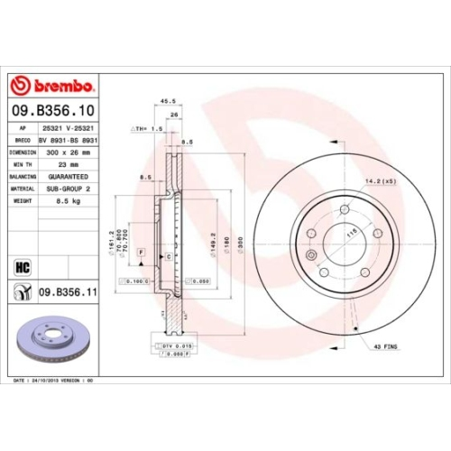 1-Bremsscheibe-BREMBO-09.B356.11-COATED-DISC-LINE-OPEL-VAUXHALL-CHEVROLET